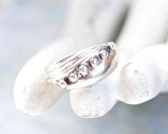 Diagonal Balls - Vintage Sterling Silver Ring - Size 6.5