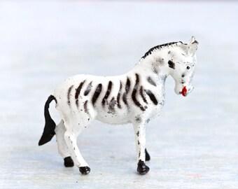 lead Zebra - Antique Iron Cast Zoo Animal - Made in England
