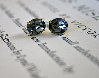 Black Diamond Swarovski Crystal In Brass, Oval, Sparkle, Wedding Jewelry, Petite, Smoky Gray, Gift Under 20