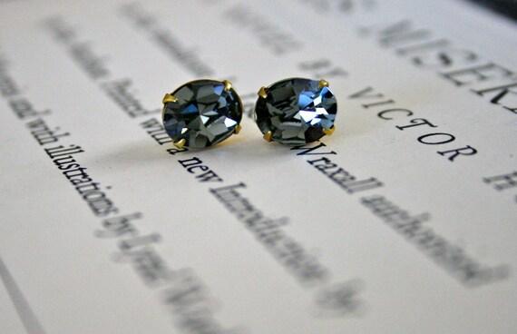Black Diamond Swarovski Crystal In Brass, Oval, Sparkle, Wedding Jewelry, Petite, Smoky Gray, Gift Under 20