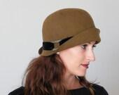Womens fur felt winter hat,  caramel brown winter hat, vintage style winter hat handmade in Israel Rana Hats