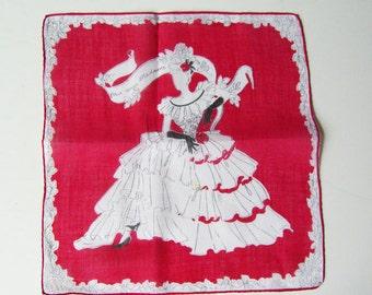 Vintage Lady In Fancy Dress Hankie