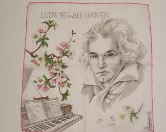 Vintage a.skandia Beethoven Hankie