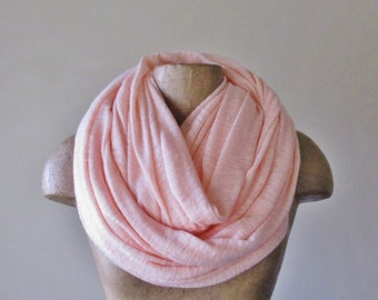 PALE PINK Infinity Scarf - Chunky Pale Pink Tube Scarf - Soft Slub Knit - Oversized Womens Scarf