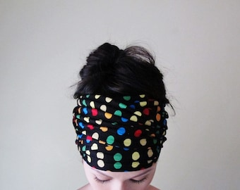 POLKA DOT Head Scarf - Colorful Polkadot Hair Wrap - Fun Headband - Multicolor Womens Hair Accessory - EcoShag Hair Acccessories