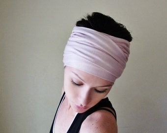 PALE TEA ROSE Head Scarf - Dusty Pink Hair wrap - Extra Wide Jersey Headband - Womens Bohemian Hair Accessories - EcoShag Head Scarf