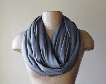 SLATE GREY Infinity Scarf - Handmade Pewter Gray Circle Scarf - Lightweight Tube Scarf