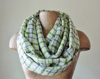 PLAID Infinity Scarf - Lime Green and White Cotton Loop Scarf - Checkered Green Plaid Circle Scarf