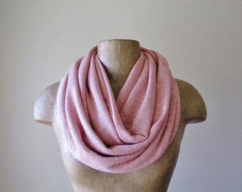 DUSTY PINK Infinity Scarf - Dusty Rose Lightweight Knit Circle Scarf - Cozy Fashion Scarf