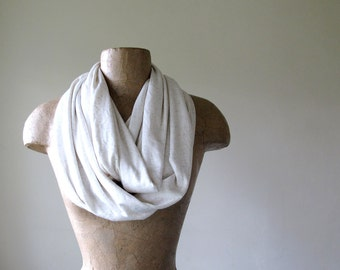 IVORY Infinity Scarf -  Lightweight Cotton Jersey Circle Scarf - Handmade Loop Scarf with Flecks of Oatmeal