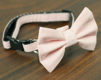 Pink Collar, Pink Cat Collar, Light Pink Collar, Soft Pink Collar, Soft Pink Cat Collar - Soft Pink - Matching Bow Tie and Flower Available