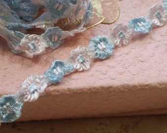Petite Rosette Trim Ribbon silky Rococo Light Blue/Breath of Pink Ribbon Flower trim