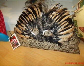 one of a kind leopard  fabric feather mask pillow