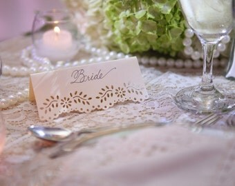 Creamish Ivory Lace Place Cards