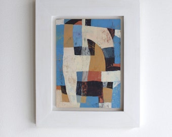 Abstract Painting Blue, Ochre, Indian-red - framed - small
