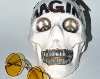 John Lennon Ceramic Skull