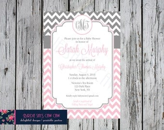 Chevron Monogram Baby Shower Invitation (bridal shower, birthday party, party) DIY