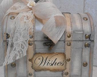 Wedding Wishes Trunk/ Wishes Case / Wedding Decoration / Wishes Box / Bridal Shower Decor / Wedding Wishes Grey Trunk / Bride and Groom Wish