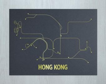 Hong Kong Screen Print - Dark Gray/Gold