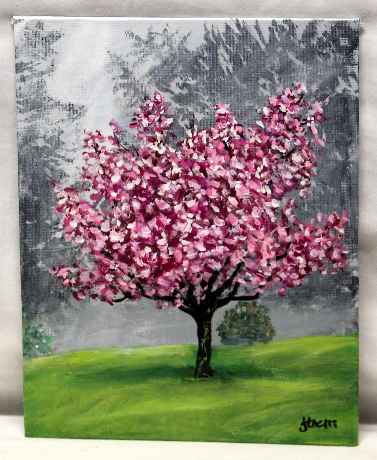 Chandeliers pendant lights for Canvas painting of cherry blossoms