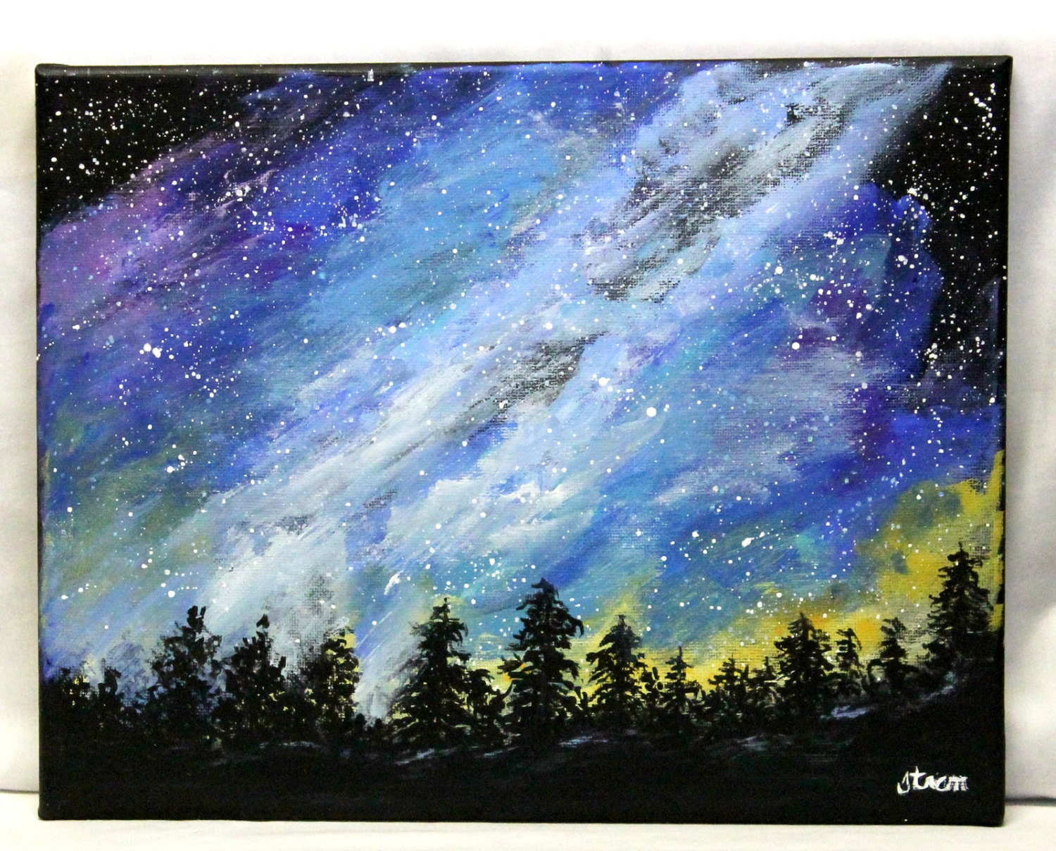 Milky Way painting 11 x 14 stretched canvas