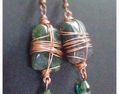 Handsome green Aventurine and teal crystal earrings // copper wire wrapped earrings