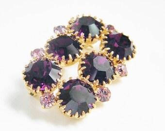 Chunky Brooch Vintage Purple Pink Rhinestone Pin 60s