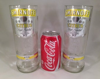Smirnoff Citrus Recycled Bottle Glasses - Set of 2