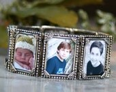 Photo Bracelet, Photo Jewelry, Picture Bracelet, Custom Photo Cuff, Antiqued Silver Bracelet, Perfect Gift for Moms, Grandmothers,8 Photos