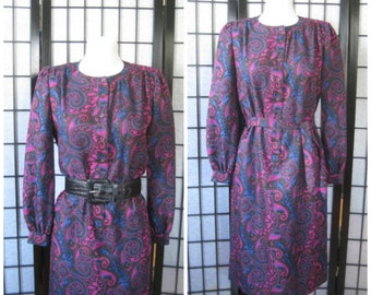 Vintage Paisley Dress by Schrader Sport  1970s 1980s Petite 6 Magenta Purple Cobalt Blue Black Brown Small Medium 34 35 Bust On Sale
