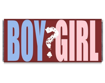 Set of 12 - Gender Reveal Boy or Girl Baby Shower Candy Bar Wrapper Favors
