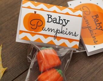 Baby Pumpkins- Halloween Fun Pumpkin -Small fold over tags Card Craft Digital- Instant download