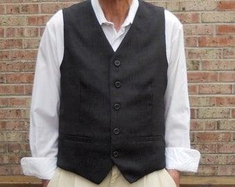 Black jacquard clasic men's vest, size S mens vest, ready to ship