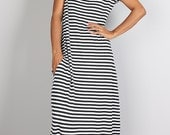 Black and White Striped Maxi Dress -  Trendy striped dress : Urban Chic Collection No.17  (Best Seller)