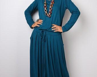 Teal Maxi Dress - Long Sleeve Dress : Autumn Thrills Collection No.1s (Best Seller)
