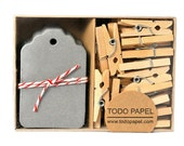 READY TO SHIP | Slate Gray gift tags - Boxed mini tags and clothespins. 40 pack
