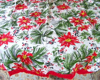 Vintage Christmas Tablecloth / Red Poinsettia Tablecloth / Red Tasseled Edge / Red Fringe Edge / Retro Christmas / Cotton /Pine Needle Print