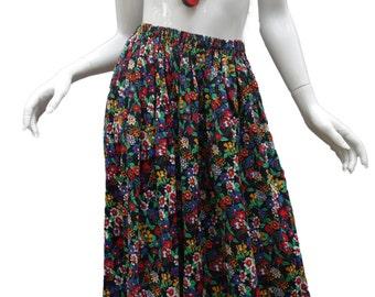 YSL Yves Saint Laurent 1970s Cotton Floral Skirt w/ric rac trim Fr.Sz 40