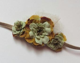 Vintage Country Inspired Sahe.Green Flower Bloom Headband - Baby Girl, Newborn, Infant, Adult - Bridal PHOTO PROP - Fairytale Woodland