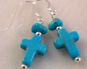 Blue Turquoise Cross Sterling Silver Earrings, Religious Jewelry