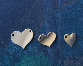 Pick Your Size Gold filled Heart, 24g Gold Fill, One or Two Holes, Gold fIlled Heart Blank, Personalized Stamp Jewelry