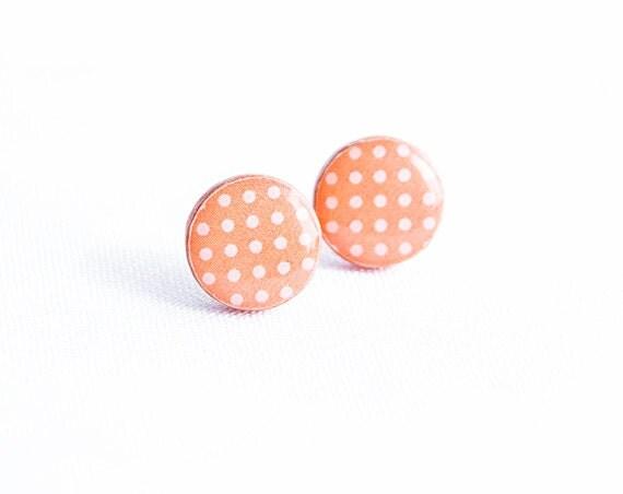Peach stud earrings, polka dot jewelry, cute stud earrings