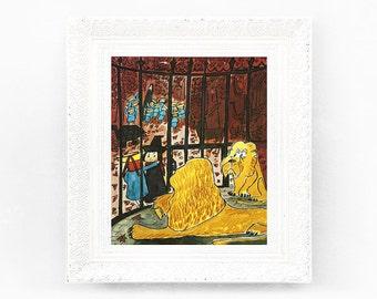 7x8 Vintage Madeline Print. Original French Book Plate Illustration Lions Cage France Paris Ludwig Bemelmans