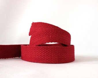 "Cotton webbing, BERRY RED, heavy weight 1"" x 4.5m, UK shop"