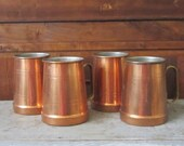 Vintage Portugal Copper Mugs - Copper Mug with Metal Handle