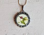 Hand Painted Original Hummingbird Bird Necklace Pendant Green Pink Ornate Frame