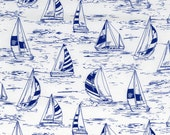 Seaside - White Sailboats Cotton Print Fabric from Timeless Treasures