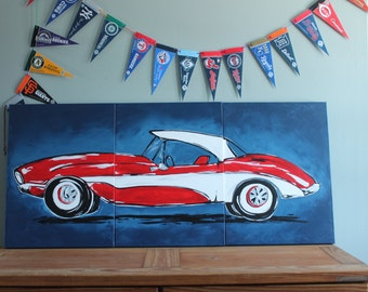 "triptych red classic corvette. 54""x24"" original painting . large car art. vintage car. bedroom decor. made to order. custom colors available"