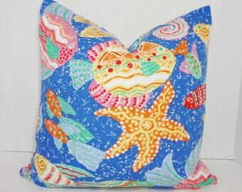 Fun Nautical Ocean Seahorse Fish Print Pillow Cover Decorative Blue & Pink Throw Pillow Cover