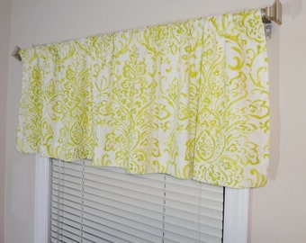 SALE Curtain Valance Topper Window Valance 52x15 Lime & White Damask Print Valance